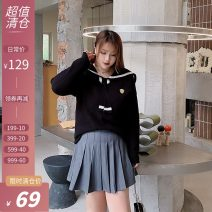 Women's large Winter 2020 Knitted dress Large XL, large XXL, large XXL Dress singleton  Sweet easy thick Socket Long sleeves Solid color Admiral routine routine Xi tonger 18-24 years old Short skirt college