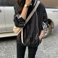 short coat Autumn 2021 M, L Black, pink Long sleeves Medium length Thin money singleton  easy Versatile Bat sleeve Hood zipper stripe 25-29 years old 71% (inclusive) - 80% (inclusive) zipper polyester fiber