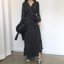 Dress Spring 2021 black S,M,L,XL longuette singleton  Nine point sleeve Sweet V-neck High waist Dot Socket Cake skirt Lotus leaf sleeve Others 25-29 years old Type A 81% (inclusive) - 90% (inclusive) Chiffon hemp college