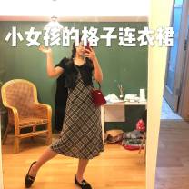 Dress Autumn of 2019 grey S,M,L Mid length dress singleton  Sleeveless commute V-neck High waist other Socket A-line skirt other camisole 25-29 years old Type A Retro 30% and below Chiffon nylon