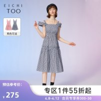 Dress Summer 2021 Black check 02 pink check 03 155/80A/S 160/84A/M 165/88A/L Mid length dress singleton  Sleeveless square neck middle-waisted Socket Ruffle Skirt other 25-29 years old Type X Eichitoo / Aiju rabbit EQLWD2L702A More than 95% other cotton Cotton 100% Pure e-commerce (online only)