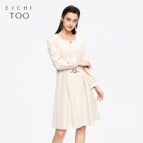 Dress Spring 2020 155/80A/S 160/84A/M 165/88A/L 170/92A/XL longuette singleton  Long sleeves square neck Loose waist Solid color other other routine 25-29 years old Type H Eichitoo / Aiju rabbit 91% (inclusive) - 95% (inclusive) other polyester fiber Polyester 91% polyamide 9%