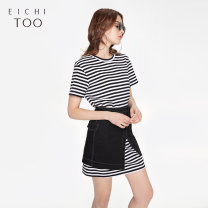 Dress Summer of 2019 Bleached stripe 01 155/80A/S 160/84A/M 165/88A/L 170/92A/XL longuette Two piece set Short sleeve Crew neck Loose waist stripe Socket routine 25-29 years old Type H Eichitoo / Aiju rabbit EQLFJ2J001A More than 95% other cotton Cotton 100%
