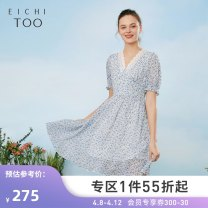 Dress Summer 2021 Light blue pattern A9 155/80A/S 160/84A/M 165/88A/L 170/92A/XL Mid length dress singleton  Short sleeve V-neck middle-waisted Socket other other 25-29 years old Type X Eichitoo / Aiju rabbit EQLBD2L708A More than 95% other polyester fiber Polyester 100% Pure e-commerce (online only)