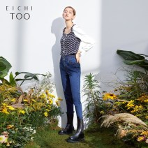Jeans Spring 2021 trousers Natural waist Straight pants routine 25-29 years old washing Eichitoo / Aiju rabbit Cotton 66% polyester 31% polyurethane elastic 3% Same model in shopping mall (sold online and offline)