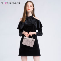 Dress Winter of 2018 black S M L Short skirt singleton  Long sleeves commute Crew neck High waist Solid color Socket A-line skirt routine Others 25-29 years old Type H Tt.color/titikana lady Lotus leaf edge T1811S343 91% (inclusive) - 95% (inclusive) polyester fiber