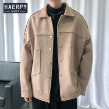 Jacket Haerpy Youth fashion Black Khaki S M L XL routine easy Other leisure autumn HA20AW1300 Polyester 100% Long sleeves Wear out Lapel tide youth routine Single breasted Cloth hem No iron treatment Closing sleeve Solid color Autumn 2020 Arrest line Mingji thread patch bag