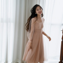 Dress Autumn 2020 Pink Charm Xs, s, m, l, custom consulting customer service longuette singleton  Long sleeves Sweet Crew neck High waist Solid color zipper Big swing bishop sleeve Others 25-29 years old Type X I'm miss tun Pleat, lace, mesh other princess