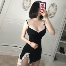 Fun suit Other / other Spandex, nylon Black dress, black dress + black lace stockings, black dress + black lace stockings, black dress + black open stockings Split dress Tight coating style Business / OL other Average size