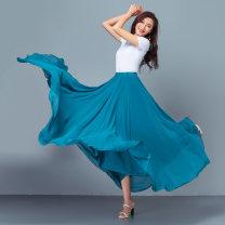 skirt Summer 2021 S,M,L,XL,2XL,3XL,4XL longuette Versatile High waist A-line skirt Solid color Type A 51% (inclusive) - 70% (inclusive) Chiffon No other love Vinylon
