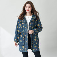 Women's large Autumn 2020 Denim blue XL (recommended body weight 110-140), 2XL (recommended body weight 140-160), 3XL (recommended body weight 160-180), 4XL (recommended body weight 180-215), 5XL (suitable for body weight 215-230) Jacket / jacket singleton  street easy moderate Cardigan Long sleeves