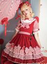 Lolita / soft girl / dress Tooth cat Crimson L,M,S No season Lolita, soft girl, retro