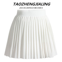 skirt Summer 2021 S,M,L white Short skirt sexy High waist Pleated skirt Solid color Type A 18-24 years old 31% (inclusive) - 50% (inclusive) other cotton Zipper, fold