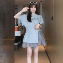 skirt Summer 2021 Short skirt commute High waist Fluffy skirt Solid color Type A 31% (inclusive) - 50% (inclusive) other other Korean version