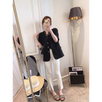 suit Spring 2021 White, black Average size Short sleeve routine Self cultivation V-neck Single breasted commute other Solid color 25-29 years old Other / other Button, tridimensional decoration, pocket