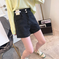 Jeans Spring 2021 Black, blue S,M,L,XL shorts High waist Straight pants routine 25-29 years old Worn out, multi pocket, button, zipper, worn out Dark color Other / other