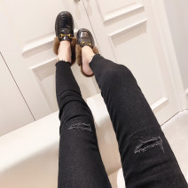 Jeans Autumn 2020 Black, black winter S,M,L,XL trousers Natural waist Pencil pants routine 25-29 years old Worn, worn, washed, zippers, buttons, multiple pockets Dark color Other / other