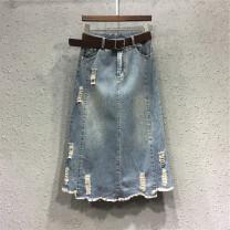 skirt Autumn of 2019 S [90-100 kg], m [100-110 kg], l [110-120 kg], XL [120-135 kg], 2XL [135-150 Jin], 3XL [150-165 kg], 4XL [165-175 Jin], 5XL [175-200 Jin] wathet Mid length dress Sweet High waist A-line skirt Type A 18-24 years old 51% (inclusive) - 70% (inclusive) Denim JSWETR princess