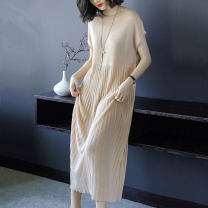 Dress Spring 2021 Apricot M suggests 80 to 105 kg, l 104 to 116 kg, XL 117 to 129 kg, 2XL 132 to 145 kg longuette singleton  Sleeveless commute Crew neck Loose waist Solid color Socket other routine Others 30-34 years old Type H lady 8076# 31% (inclusive) - 50% (inclusive) knitting