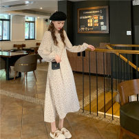 Dress Spring 2021 Brown, apricot Average size Mid length dress singleton  Long sleeves commute Crew neck High waist Decor Socket A-line skirt puff sleeve Others 18-24 years old Type A Other / other Korean version 30% and below other other