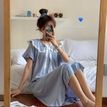 Nightdress Other / other White, haze blue Average size Sweet Long sleeves pajamas longuette spring Solid color youth Crew neck other lym14466