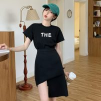 Fashion suit Summer 2021 S. M, average size White T-shirt, black T-shirt, blue skirt, black skirt 18-25 years old Other / other ZXJ5266 30% and below