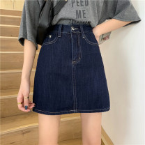 skirt Summer 2021 S,M,L navy blue Short skirt Versatile Natural waist A-line skirt Type A 18-24 years old ysg8505 30% and below Denim Other / other
