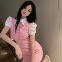 Dress Summer 2021 Dress Average size Short skirt singleton  Short sleeve commute Polo collar High waist Solid color Socket other other Others 18-24 years old Type A Other / other Frenulum ZXJ6389 30% and below other other