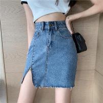 skirt Summer 2021 S,M,L Blue, black Short skirt Versatile High waist Denim skirt Type A 18-24 years old sg3317 30% and below Other / other