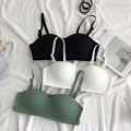 Bras White, black, skin color, milk gray, fruit green S [32 / 70ab Cup], m [34 / 75ab Cup], l [36 / 80ab Cup], XL [38 / 85ab Cup] strapless  Detachable shoulder strap Rear three row buckle Wireless  1/2 Other / other Young women Gather together Medium sized cup Insert bag Solid color sexy One piece