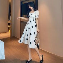 Dress Summer 2021 White, black S, M Middle-skirt singleton  Short sleeve commute square neck High waist Dot Socket A-line skirt routine Others 18-24 years old Type A Other / other Korean version zym14056 30% and below other other