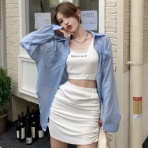 Fashion suit Summer 2021 Average size Blue shirt, white shirt, white vest, black vest, white skirt, black skirt 18-25 years old Other / other ZXJ5514 30% and below