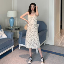 Dress Summer 2021 Apricot, black S,M,L Mid length dress singleton  Sleeveless commute High waist Broken flowers Socket A-line skirt routine camisole 18-24 years old Type A Other / other Korean version ysg8527 30% and below other other