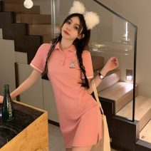 Dress Summer 2021 White, black, pink Average size Short skirt singleton  Short sleeve Polo collar High waist Solid color Socket other routine Others 18-24 years old Type A Other / other ZXJ6393 30% and below other other