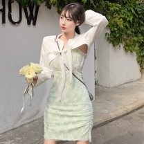 Fashion suit Summer 2021 S, M Green lace skirt, white short suit 18-25 years old Other / other ZXJ6154 30% and below