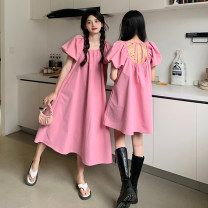 Dress Summer 2021 Pink long, pink short, black long, black short Average size Mid length dress singleton  Short sleeve Solid color A-line skirt 18-24 years old Type A Other / other ysg8355 30% and below