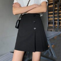skirt Summer 2021 S,M,L black Short skirt commute High waist A-line skirt Solid color Type A 18-24 years old Z47 Other / other other Korean version