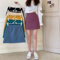 skirt Summer 2021 S,M,L Apricot, purple, green, blue, yellow, black Short skirt High waist A-line skirt Solid color Type A 18-24 years old 30% and below Other / other other