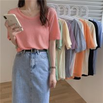 T-shirt Apricot, gray, white, pink, purple, green, blue, black, orange, light yellow M,L,XL Summer 2021 Short sleeve commute other 51% (inclusive) - 70% (inclusive) 18-24 years old Korean version Solid color Other / other lym15157