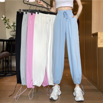 Casual pants Gray, white, blue, black, pink S,M,L Summer 2021 Ninth pants High waist Versatile routine 18-24 years old 31% (inclusive) - 50% (inclusive) ysg8391 Other / other other pocket