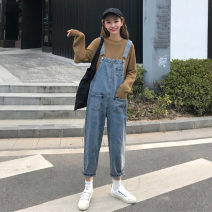 Jeans Spring 2021 blue S,M,L Ninth pants High waist rompers routine 18-24 years old Dark color lym13328 Other / other 30% and below