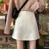 skirt Summer 2021 S,M,L Apricot, black Short skirt Versatile High waist A-line skirt Solid color Type A 18-24 years old ysg915# corduroy Other / other
