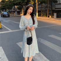 Dress Spring 2021 Sky blue, black Average size longuette singleton  Long sleeves commute V-neck High waist lattice A-line skirt routine Others 18-24 years old Type A Other / other Button YM6273 polyester fiber