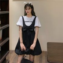 Fashion suit Summer 2021 Average size Folding butterfly strap skirt , Puffed white top 18-25 years old Other / other ysg8559