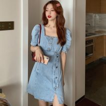 Dress Summer 2021 Graph color S, M Short skirt singleton  Short sleeve commute square neck High waist Solid color Socket other other Others 18-24 years old Type A Other / other Korean version ZXJ5785 30% and below other other