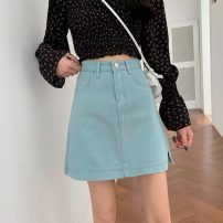 skirt Spring 2021 S,M,L Sky blue, off white, black Short skirt High waist Denim skirt Type A 18-24 years old lym15038 81% (inclusive) - 90% (inclusive) Other / other