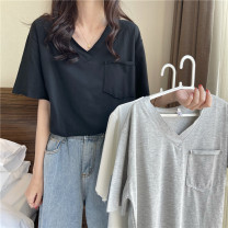 T-shirt Gray, white, black Average size Summer 2021 Short sleeve V-neck easy Regular other 86% (inclusive) -95% (inclusive) 18-24 years old Solid color Other / other