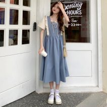 Dress Summer 2021 Apricot orange, Navy Average size Mid length dress singleton  Short sleeve commute square neck Solid color 18-24 years old Other / other ysg8428 30% and below