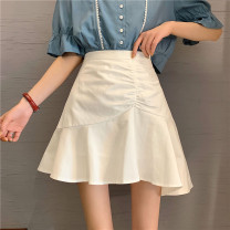 skirt Summer 2021 S,M,L White, purple, black Short skirt Versatile High waist A-line skirt Solid color Type A 18-24 years old ysg8546 30% and below Other / other