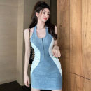 Dress Summer 2021 Blue grey S, M Short skirt singleton  Sleeveless other High waist zipper other other Hanging neck style 18-24 years old Type A Other / other Splicing ZXJ4777 30% and below other other